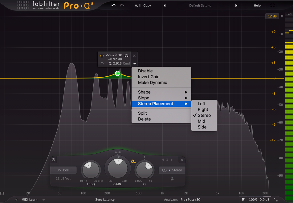 FabFilter Pro Q 3 Mid Side EQing